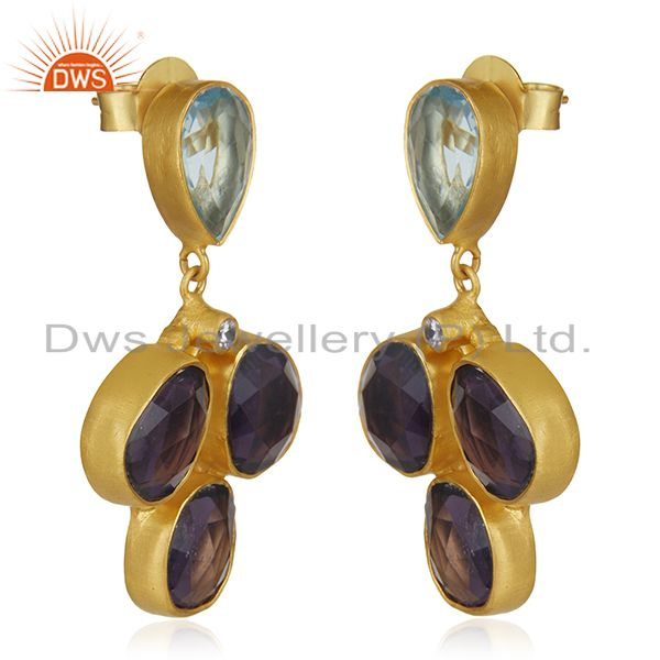Exporter CZ and Hydro Stone Gold Plated Fashion Earrings Jewelry Manufacturer
