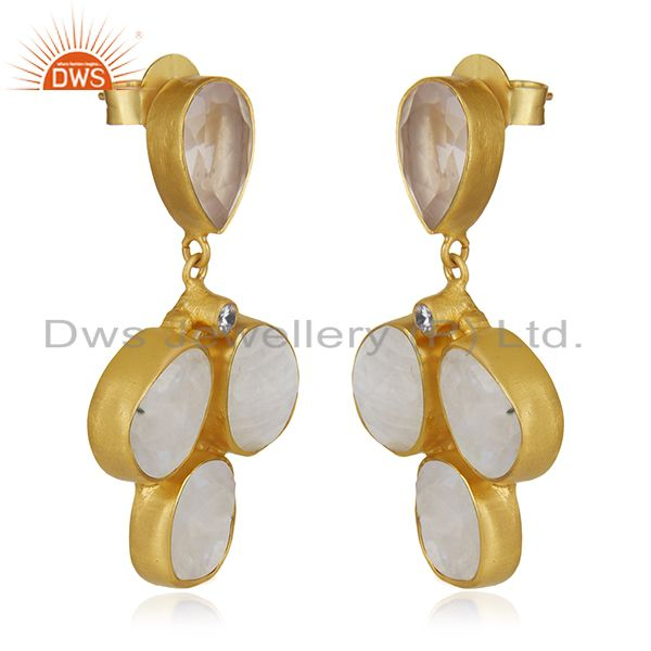 Exporter Gold Plated Brass Multi Gemstone Fashion Earring Custom Jewelry Manufacturer