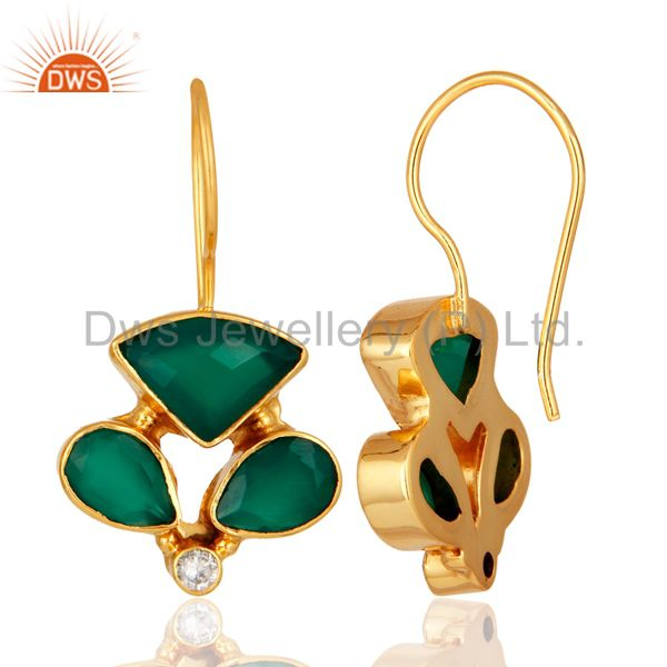 Exporter Handmade Faceted Green Onyx Gemstone Designer Earrings - Yellow Gold Plated