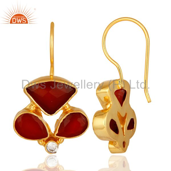Exporter Faceted Red Onyx Gemstone And CZ Designer Earrings With Yellow Gold Plated