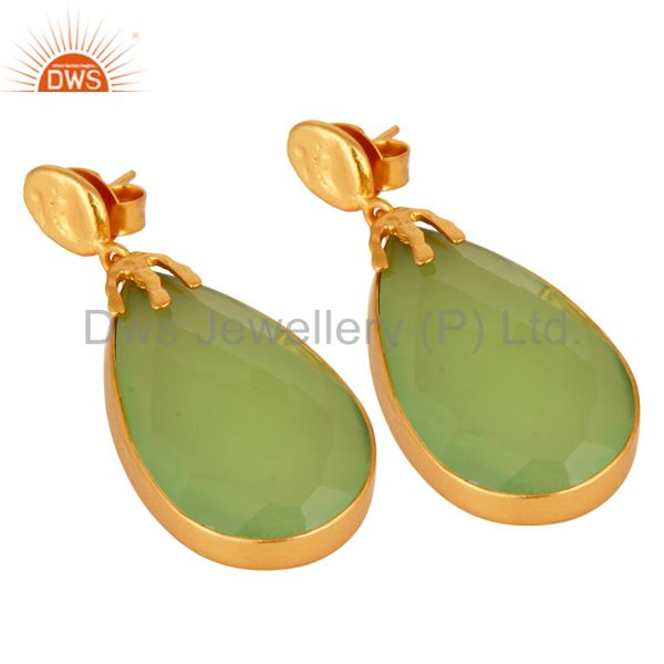 Exporter 22K Yellow Gold Plated Brass Green Chalcedony Gemstone Bezel Set Dangle Earrings