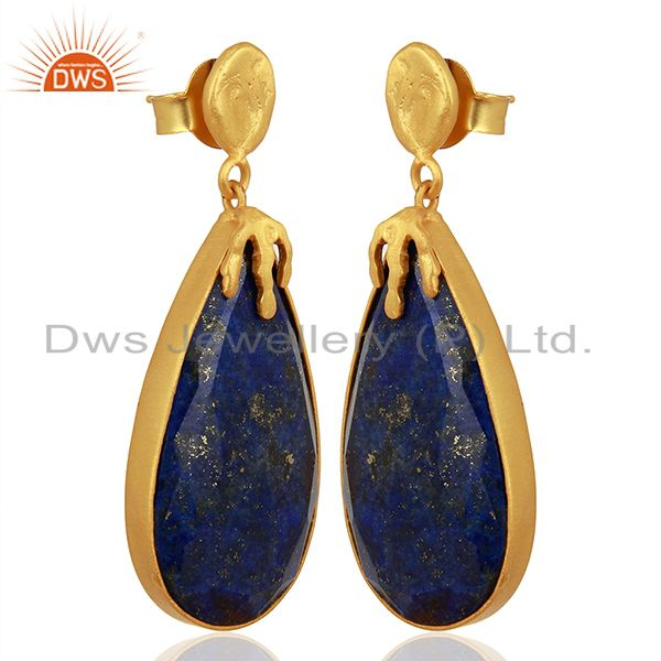 Exporter Gold Plated Natural Lapis Gemstone Brass Fashion Earrings Jewelry