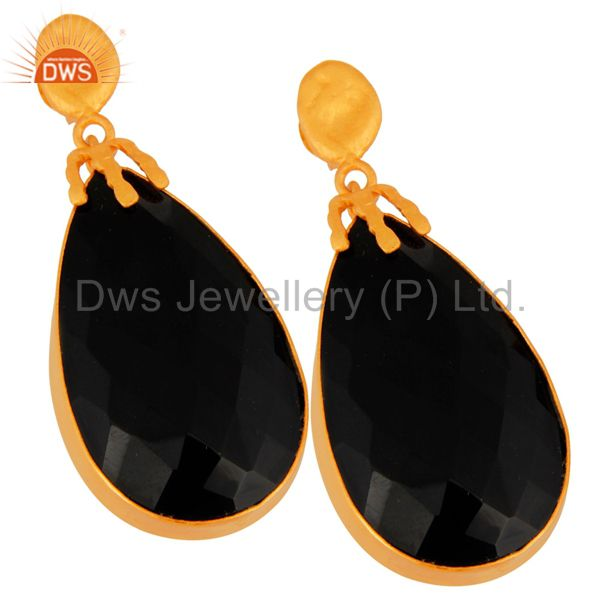 Exporter Natural Black Onyx Gemstone Dangle Earring Made In 18K Gold Over brass