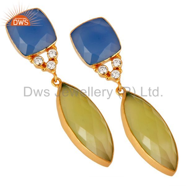 Supplier of 18K Yellow Gold Plated Blue Chalcedony Bezel Fashion Dangle Earrings With CZ