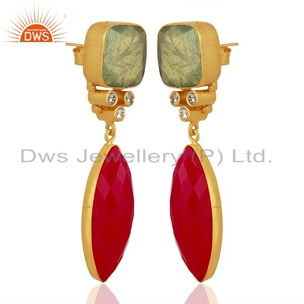 Exporter Zircon Labradorite Gemstone Gold Plated Fashion Earrings Supplier