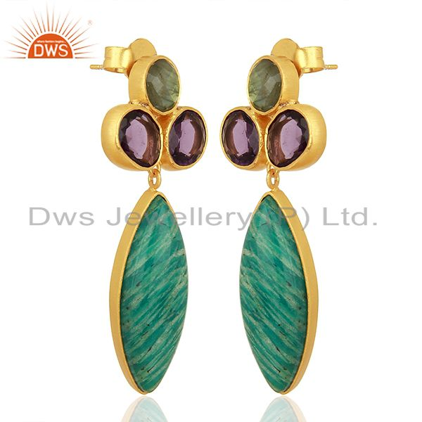 Exporter Amazonite Gemstone Handmade Gold Plated Fsahion Earrings Jewelry