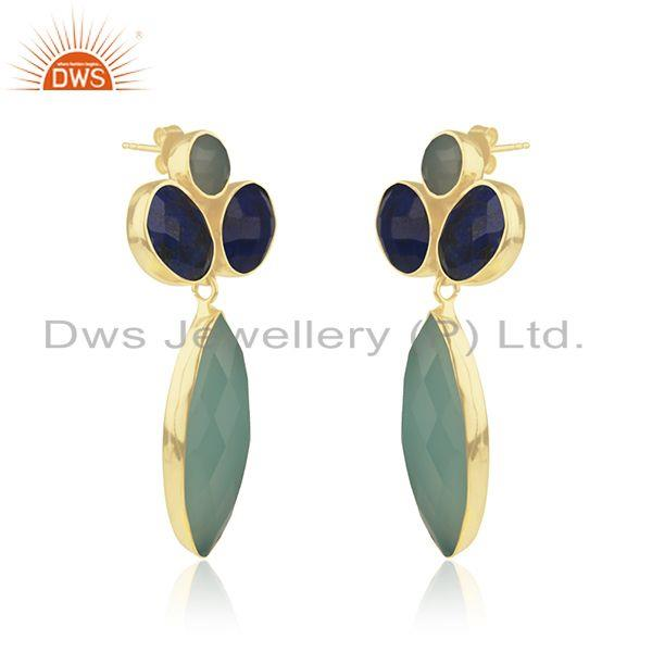 Exporter Gold Plated 925 Silver Multi Gemstone Dangle Earrings Manufacturer India