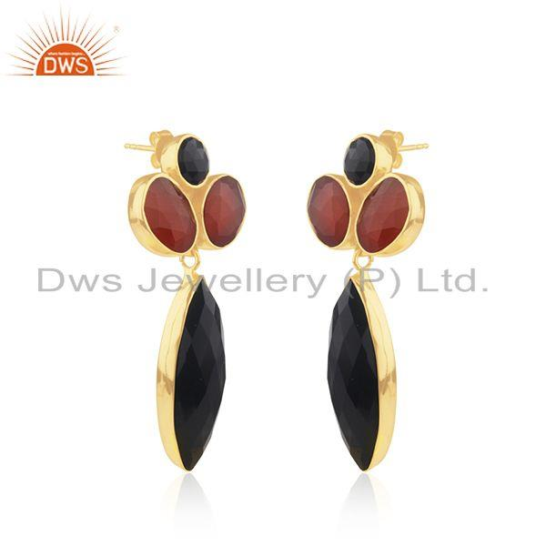 Exporter Black and Red Onyx Gemstone Gold Platd 925 Silver Earrings Supplier from India