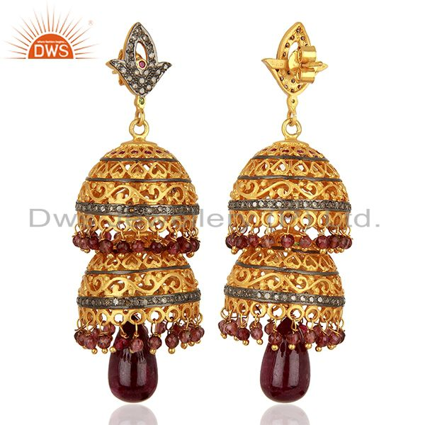 Exporter Ruby Gemstone Pave Diamond Gold Plated Silver Traditional Earrings