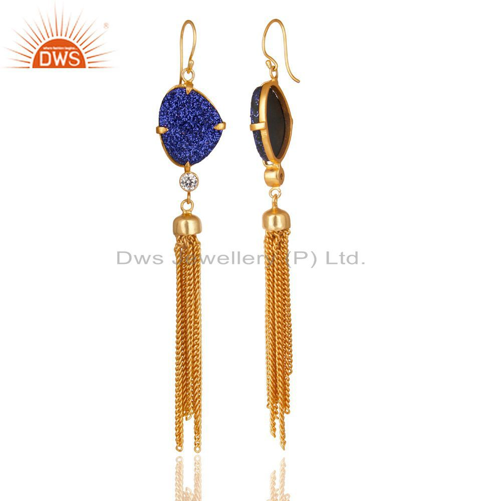 Exporter 24K Yellow Gold Plated Brass Blue Druzy And CZ Chain Chandelier Earrings