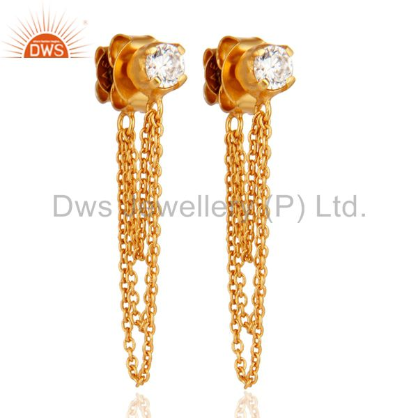 Exporter 18K Yellow Gold Plated White Cubic Zirconia Fashion Dangle Earring
