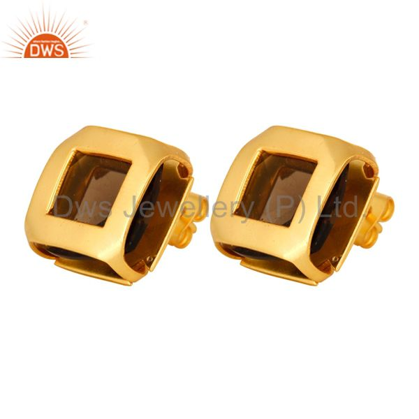 Exporter 14K Gold Plated Over Brass Stud Earrings With Smoky Quartz Gemstone
