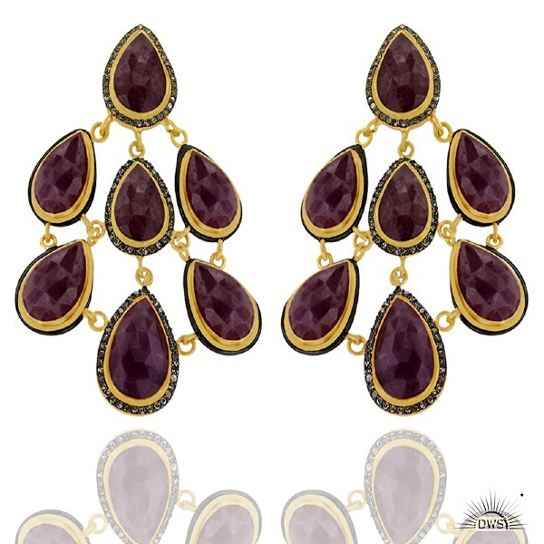 Exporter 24K Yellow Gold Plated Brass Red Aventurine And CZ Womens Chandelier Earrings