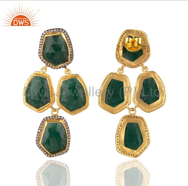 Exporter Handmade Green Aventurine And CZ Designer Earrings In 22K Gold Over Brass