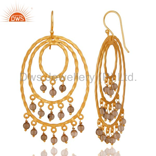 Exporter 22K Yellow Gold Plated Brass Hammered Multi Circle Earrings With Smoky Quartz