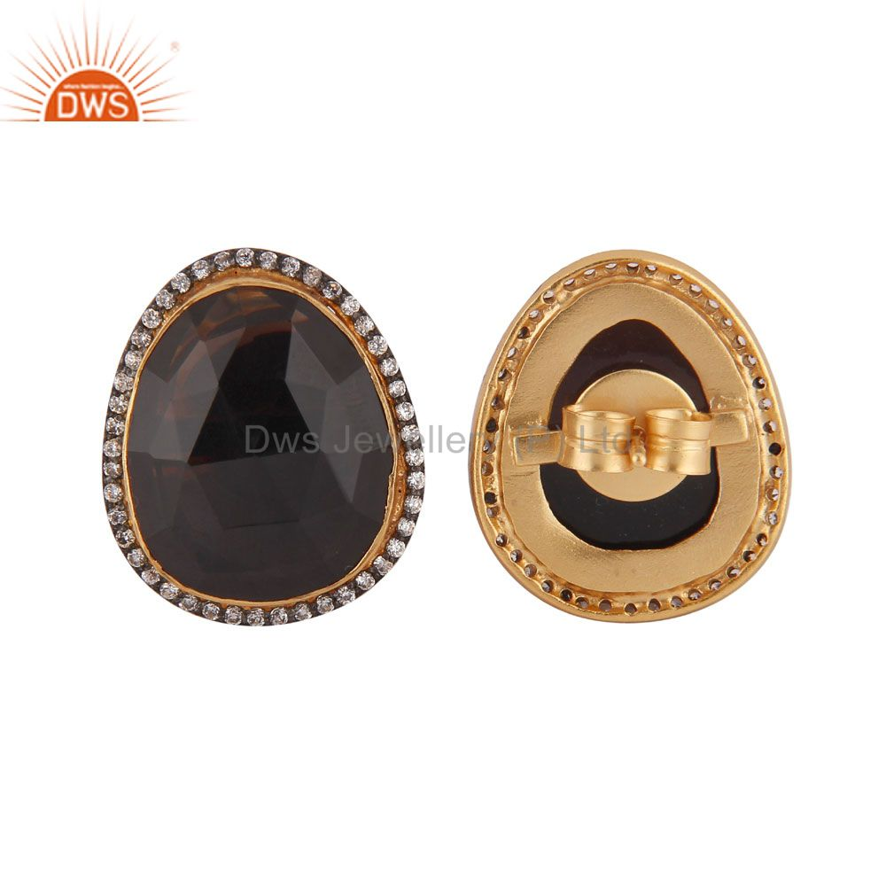 Exporter 24K Yellow Gold Plated Smoky Quartz And CZ Designer Womens Stud Earrings