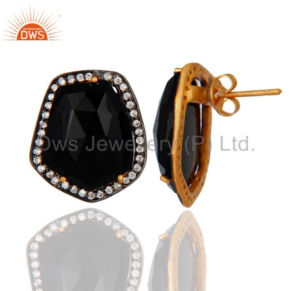 Exporter 22K Yellow Gold Plated Brass Black Onyx And CZ Womens Fashion Stud Earrings