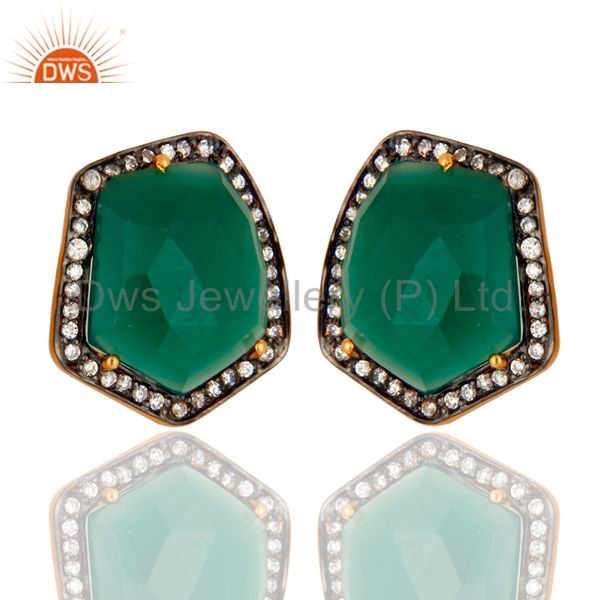Exporter 18K Yellow Gold Plated Brass Green Onyx And CZ Womens Stud Earrings