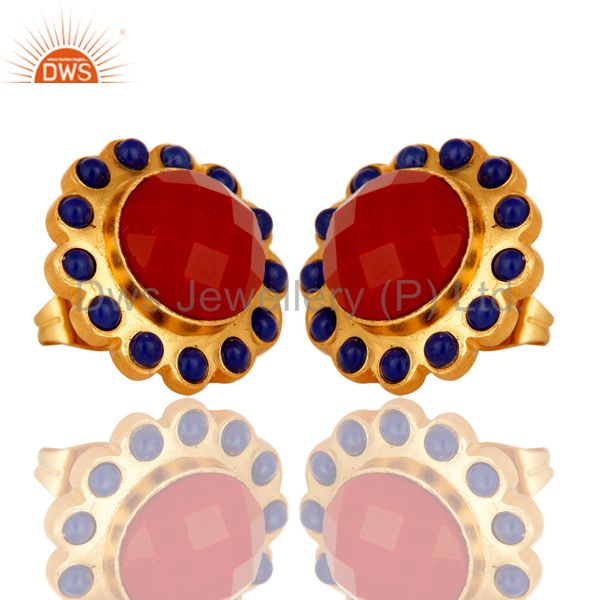 Exporter Handmade Coral and Lapis Lazuli Stud Earrings Made In 18K Gold On Brass