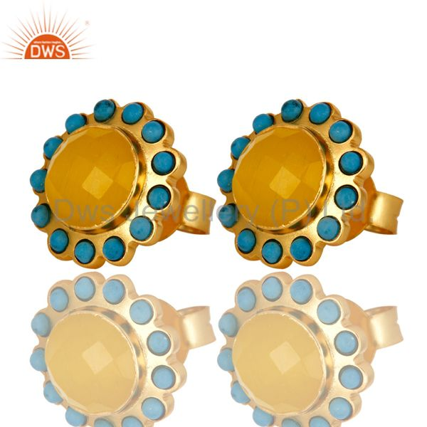 Exporter Handmade Turquoise And Yellow Chalcedony Stud Earrings Made In 18K Gold On Brass