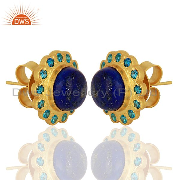 Exporter Lapis Gemstone Gold Plated Stud Earrings Manufacturer Supplier