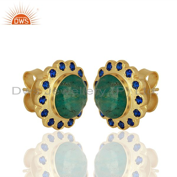 Exporter CZ Amazonite Gemstone Brass Gold Plated Fashion Stud Earring Supplier