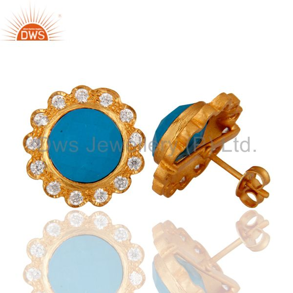 Exporter 18K Gold Plated Brass Turquoise And Cubic Zirconia Stud Earrings