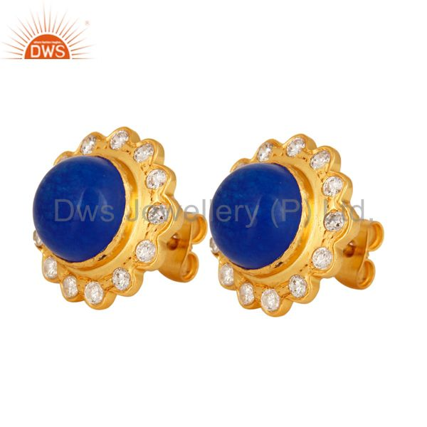 Exporter 18K Yellow Gold Plated Aventurine Blue Gemstone Stud Fashion Earrings With CZ
