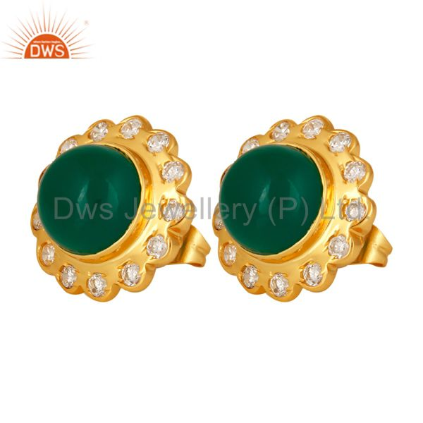 Exporter Handmade Green Onyx Round Gemstone 18K Gold Plated Bezel Set Stud Earrings