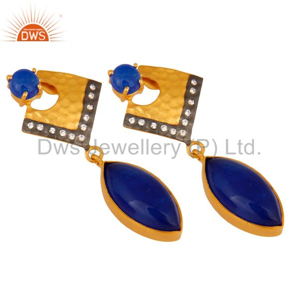 Exporter 22K Yellow Gold Plated Brass Blue Aventurine Fashion Dangle Earrings With CZ