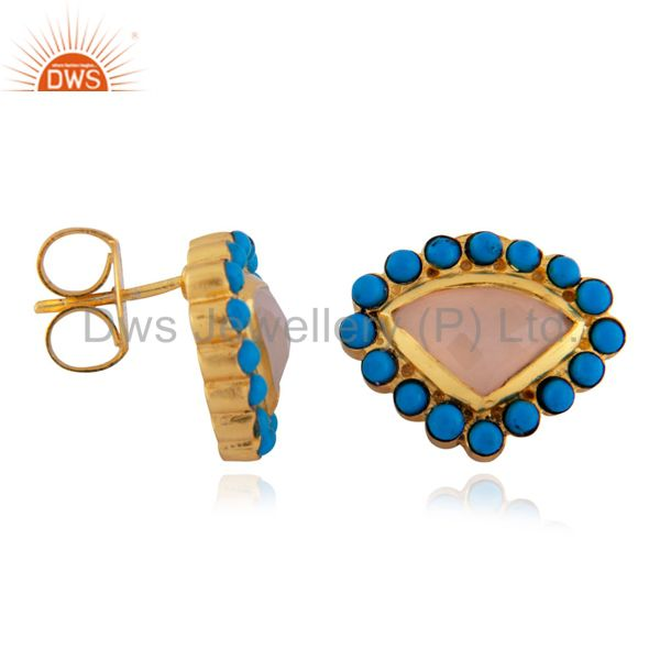 Exporter 22K Yellow Gold Plated Brass Rose Chalcedony And Turquoise Stud Earrings