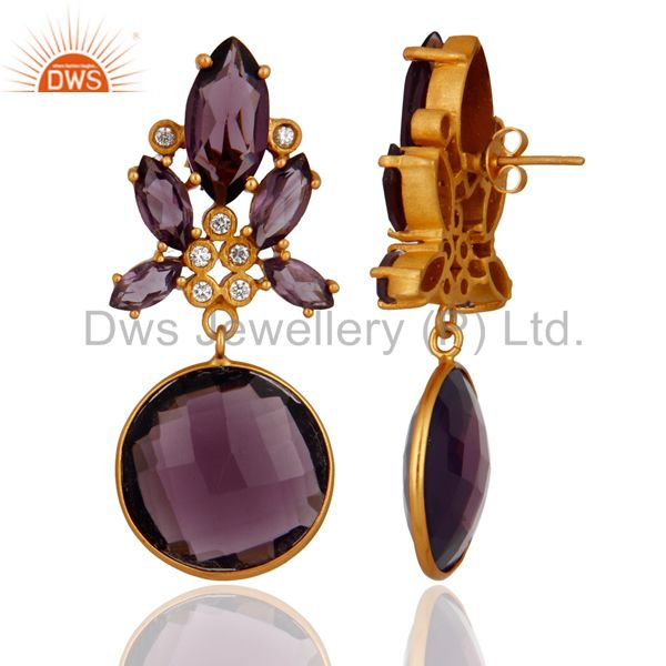 Exporter White Zircon And Hydro Amethyst Bezel Set Yellow Gold Plated Dangle Earrings