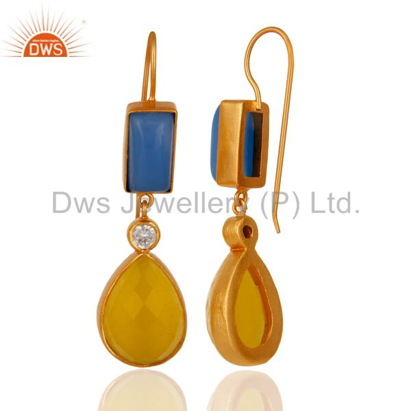 Exporter 22K Yellow Gold Plated Blue Chalcedony And Moonstone Dangle Earrings With CZ