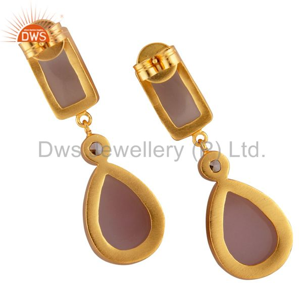 Exporter 24K Yellow Gold Plated Brass Rose Chalcedony Bezel Set Drop Earrings With CZ