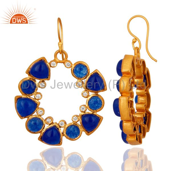 Exporter Handmade Natural Blue Aventurine And CZ Designer Earrings - Yellow Gold Plated