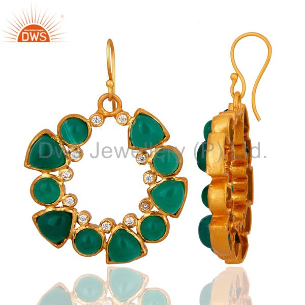 Exporter Natural Green Onyx Gemstone 24K Yellow Gold Plated Earrings With CZ