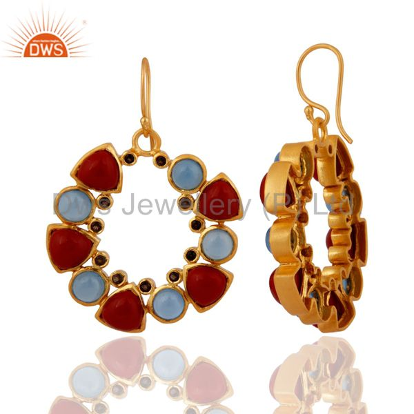 Exporter 18K Yellow Gold Plated Chalcedony, Red Coral And Smoky Quartz Dangle Earrings