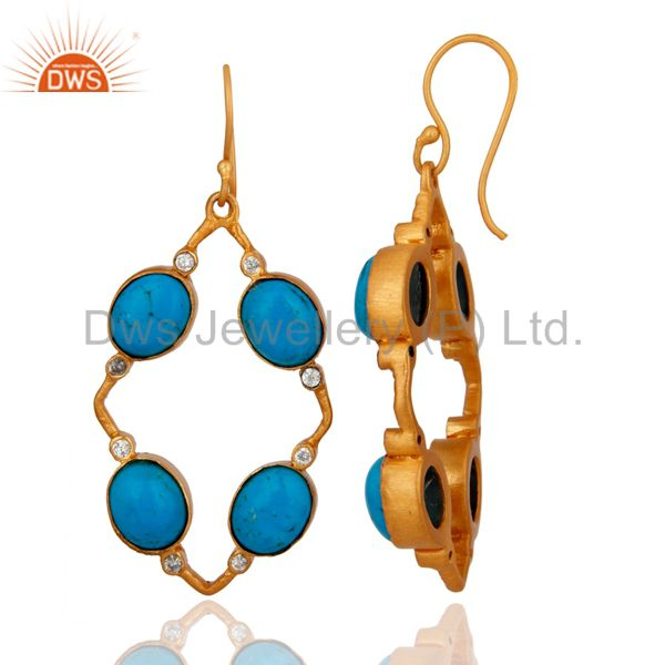 Exporter Handmade Matrix Turquoise Gemstone And CZ 18K Gold Plated Earrings