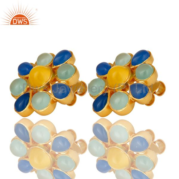 Exporter 22K Yellow Gold Plated Blue Chalcedony And Moonstone Flower Stud Earrings