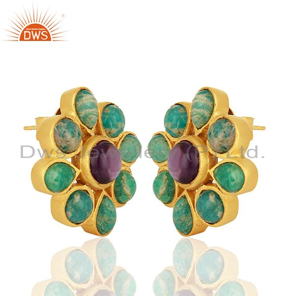 Exporter Amazonite Gemstone Gold Plated Brass Fashion Earrings Jewelry Supplier