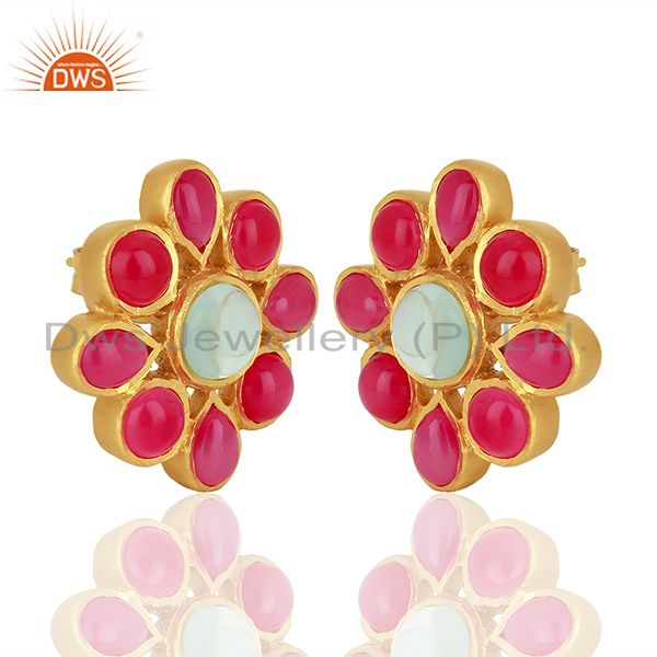 Exporter Pink Chalcedony Gemstone Gold Plated Stud Earrings Designer Jewelry