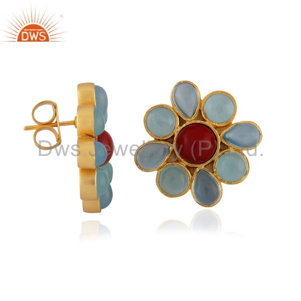 Exporter 24K Yellow Gold Plated Brass Aqua Chalcedony And Coral Flower Stud Earrings