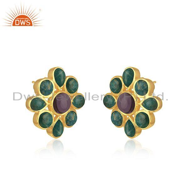 Exporter Amazonite Gemstone 925 Silver Yellow Gold PLated Stud Earrings Manufacturer