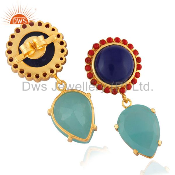 Exporter 22K Yellow Gold Plated Red Coral And Lapis Lazuli And Chalcedony Drop Earrings