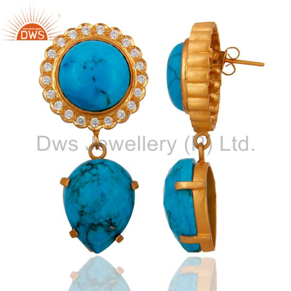 Exporter 18K Yellow Gold Over Brass Cubic Zirconia And Simulated Turquoise Earrings