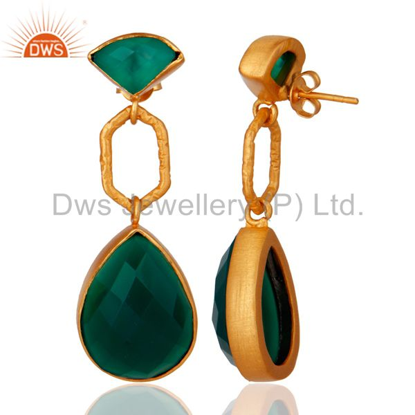 Exporter 22K Yellow Gold Plated Sterling Silver Green Onyx Gemstone Dangle Earrings