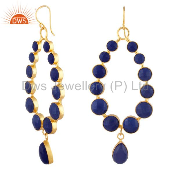 Exporter 22K Yellow Gold Plated Brass Faceted Lapis Lazuli Gemstone Dangle Earrings
