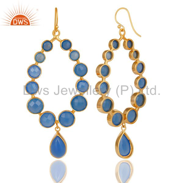 Exporter 14K Gold Plated 925 Sterling Silver Handmade Dyed Chalcedony Dangle Earrings
