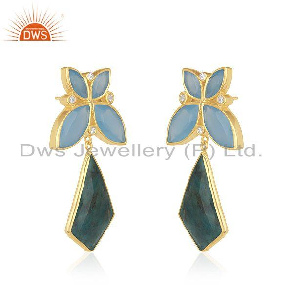Exporter Yellow Gold Plated 925 Silver Genuine Gemstone Girls Earrings Wholesaler India