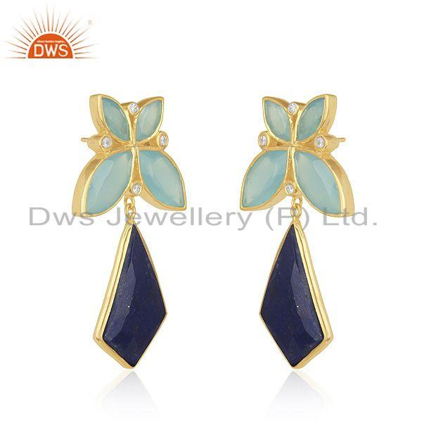 Exporter Lapis Lazuli Gemstone 925 Silver Yellow Gold Plated Earrings Manufacturer India